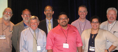 AAVP officials: Front row Alan Marchiondo, PhD; Javier Garzza; and Meriam Saleh. Back row Timothy G. Geary, PhD; Dante S. Zarlenga, PhD; Dr. Ray M. Kaplan; Dr. Andrew S. Peregrine; and Dr. Doug Carithers.