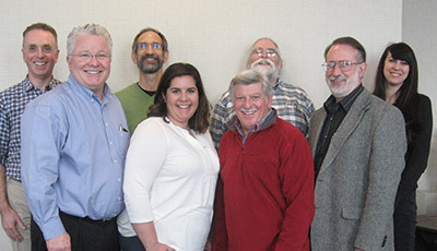 AAVP Executive Board in Indianapolis, IN for the 2016 AAVP Mid-Year Meeting: (left to right: Andrew Peregrine, Immediate Past-President; Doug Carithers, Secretary-Treasurer; Ray Kaplan, President; Meriam Saleh, 2016 Student Representative; Al Marchiondo, Program Administrator; Tim Geary, President-Elect; Dan Zarlenga, Vice-President; and Jesica Jacobs, 2017 Student Representative.
